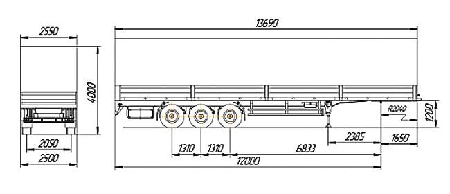 Технические характеристики бортового полуприцепа НЕФАЗ 93341-0012150-07